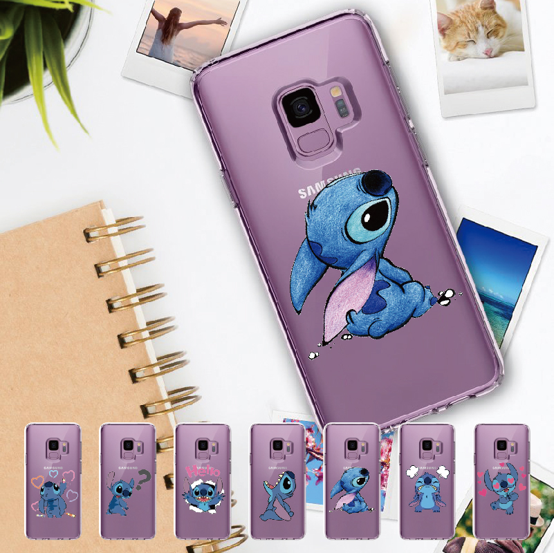 Cute Stich Cartoon Lover For <font><b>Samsung</b></font> Galaxy Note 8 9 10 A7 A8 S8 S9 S10 S20 Plus Soft TPU Crystal Slim Protective Clear <font><b>Case</b></font> image