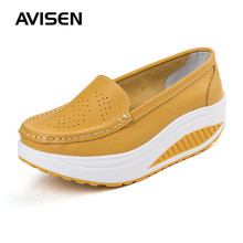 2019 Fashion Women Flats Platform Shoes Sneakers White Breathable Sports Shoes PU leather Wedges Solid Color Casual Shoes