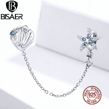 BISAER Ocean Starfish & Shell Stopper Safety Chain 100% 925 Sterling Silver Charms for Original Bracelet S925 Jewelry ECC1478
