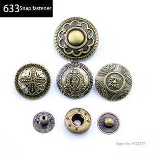 10sets retro 633 button for diy Leather wallets cards bags clothing handmade snap buttons craft supplies