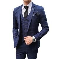 ( Jacket + Vest + Pants ) Fashion Boutique British Classic Plaid Mens Formal Business Slim Suit 3 Pcs Groom Wedding Dress Suit