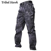 ผู้ชายยุทธวิธีกางเกงทหารทหารCamo CargoกางเกงชายSWATต่อสู้Paintballหลายกระเป๋ากันน้ำกางเกง