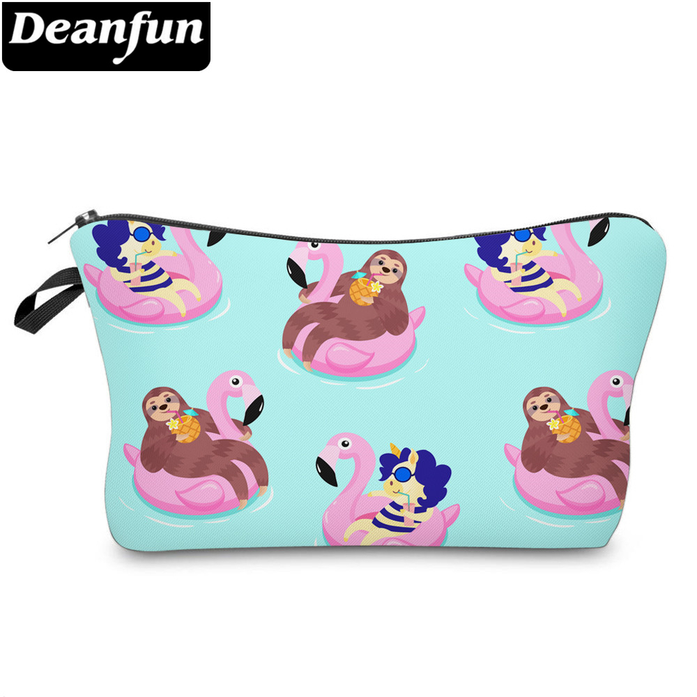 Deanfun Printing Sloth Cosmetic Bag Summer Pink Flamingo Unicorn Blue Makeup Bag Waterproof Organizer 52005