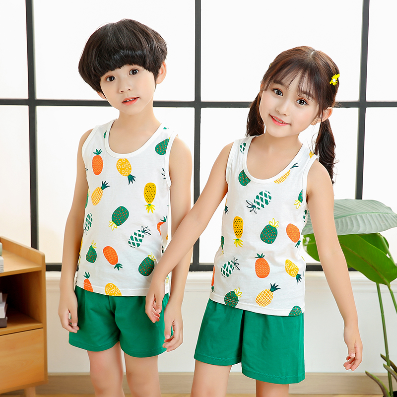 Summer Baby Boys Girls Cartoon Vest Tops Shorts Pants Set Clothes Kids Cute Cotton 2PCS Children Pajamas Girls Clothing Sets Hot