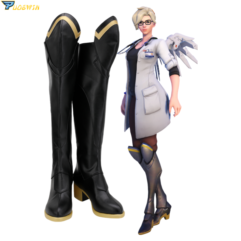Game OW Mercy Angela Ziegler Black Cosplay Boots Shoes Custom Made