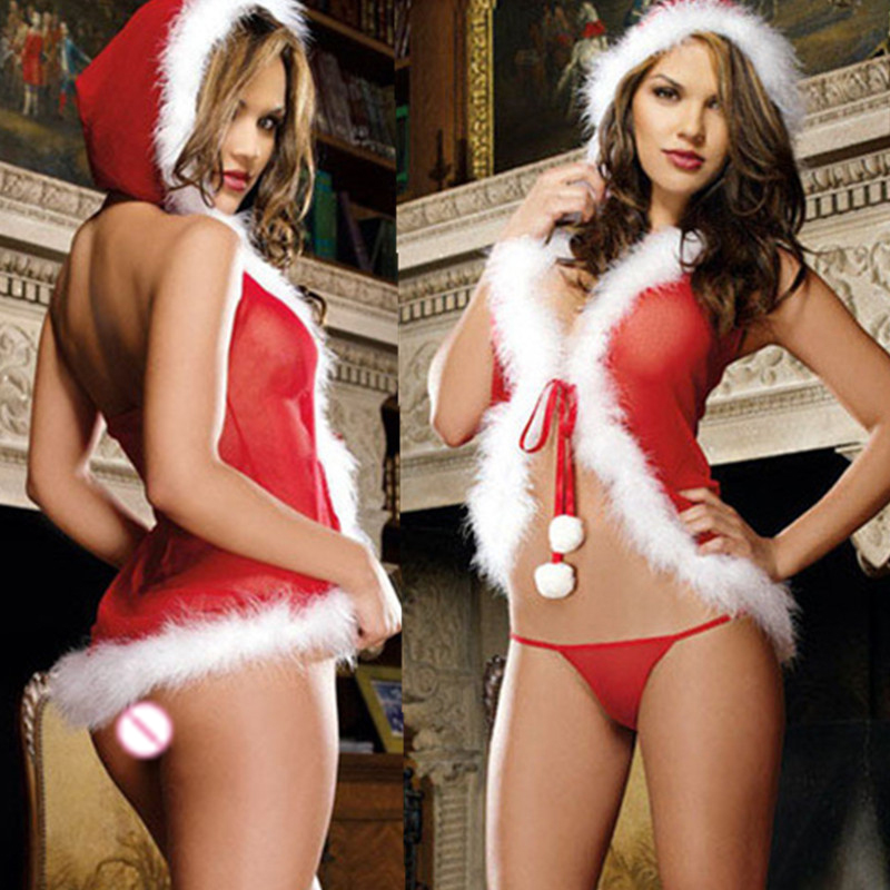 HKMN Christmas Cosplay Costumes Women Sexy Lingerie Hot Baby Doll Lingerie Set Nightclub Stripper Clothes Sexy BDSM Underwear