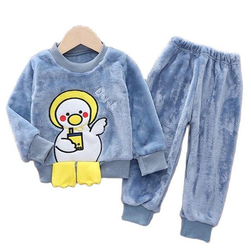 Conjunto de pijamas de flanela para crianças,