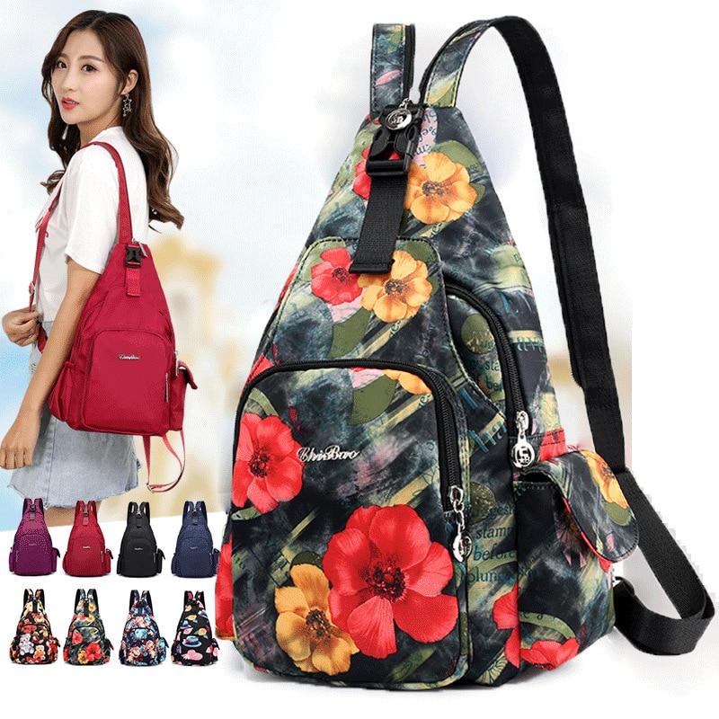 New Fashion Floral Printing Flower Shoulder Bag Crossbody Bags Chest Bags Carteiras De Cintura Multifunctional Women's Backpack
