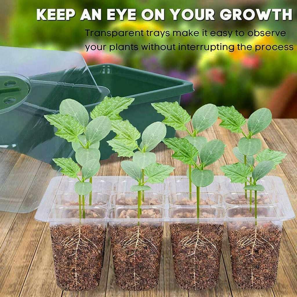 12 หลุมเมล็ดพืช Grow กล่อง Seedling Starter ถาดต้นกล้า Starter Garden YARD ถาดกระถางดอกไม้ Grow กล่อง j80
