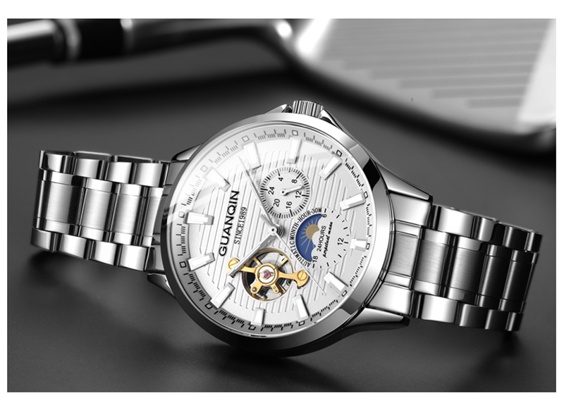 Hf1cef53adee2486387f91edbcfb21b14J GUANQIN 2019 automatic watch clock men waterproof stainless steel mechanical top brand luxury skeleton watch relogio masculino