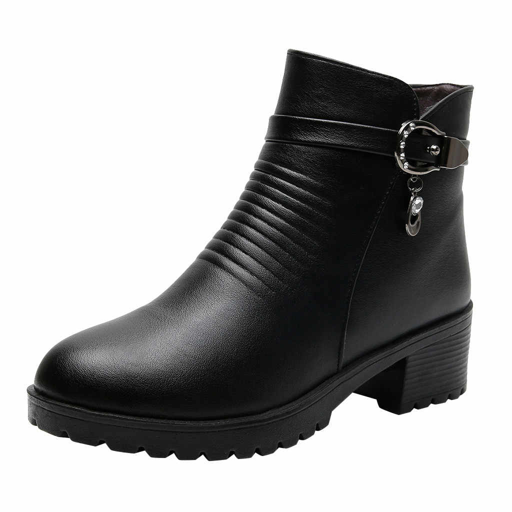 Marca 2019 nuevas botas de nieve para mujeres de moda invierno botas de Color sólido Martin cortas más zapatos de algodón cálido de terciopelo Casual