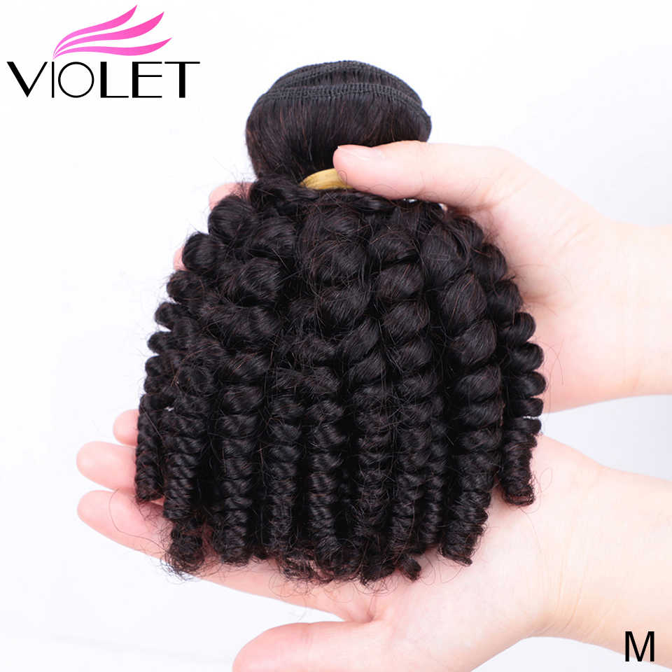 VIOLET Brazilian Bouncy Curly Medium Ratio 8-18 Inch Non-Remy Human Hair Weaves 1/3/4 Bundles Funmi Hair Extension Natural color