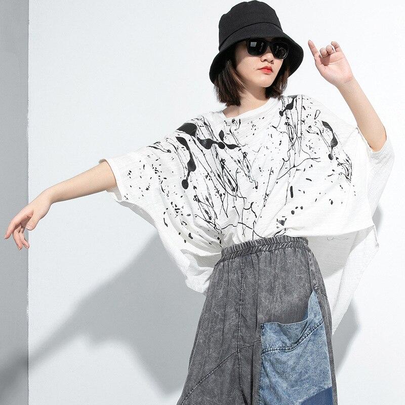 [EAM] Women Green Pattern Printed Big Size T-shirt New Round Neck Three-quarter Sleeve  Fashion Tide Spring Summer 2020 1U028