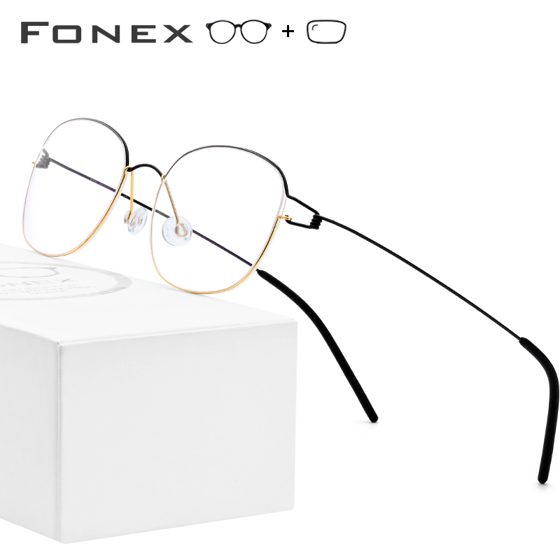 Titanium Alloy Optical <font><b>Prescription</b></font> <font><b>Glasses</b></font> Frame <font><b>Men</b></font> Eyeglasses Korean Denmark Women Brand Designer Myopia Screwless Eyewear image