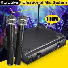 Micrófono inalámbrico de 2 canales con cápsula dinámica de frecuencias UHF de mano para sistema de Karaoke Microfone Sem Fio Mic Micro