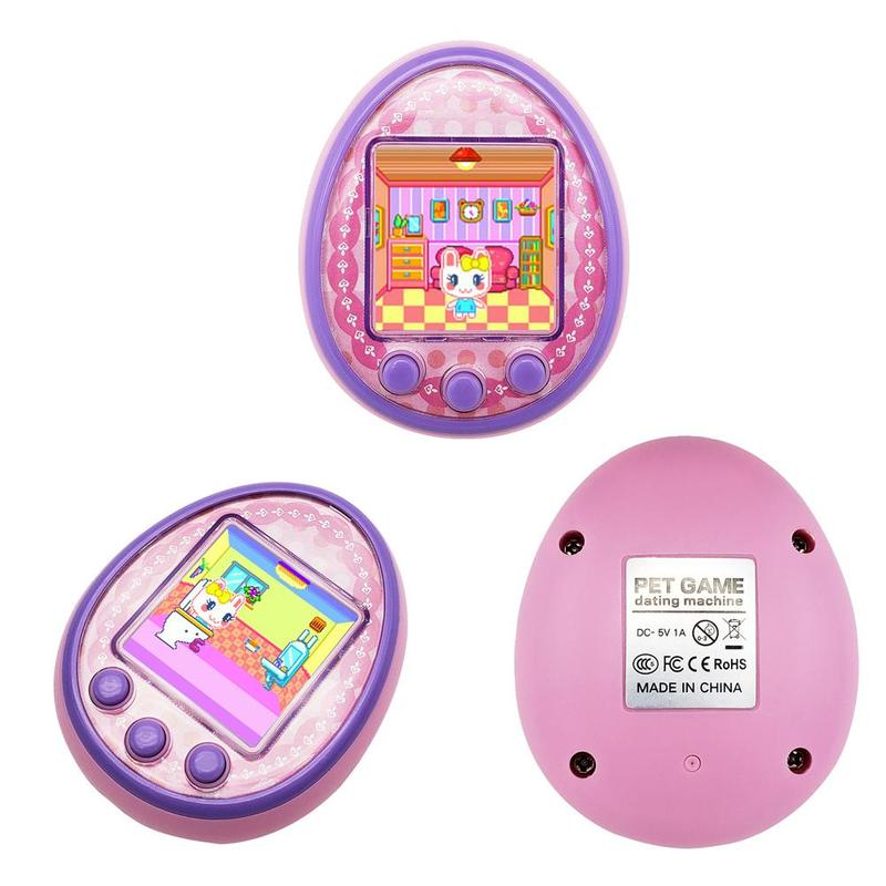 Nostalgic 90S Tamagotchi Virtual Cyber Pet Toy 1.5 Inches HD Color Screen Eectric Pet Micro Chat USB Charging Version Xmas Gift