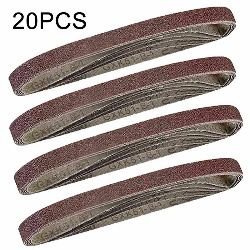 20 PCS Assorted Alumina Sanding Air Belt Finger Sander Belts 13mm * 457mm 40/60/80/100/120Grit Grinder Sanders Accessories