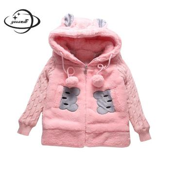 Kids Parkas jacket winter Girls coats clothing Zipper Hooded Velour Cotton Cartoon long style children's outerwear clothes h63 фото