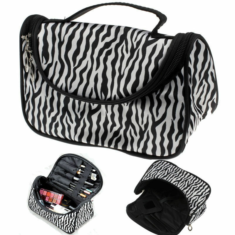 Unisex Portability Magic Travel Pouch Cosmetic Bag Makeup Bags Casual Zebra Striped Print Storage Pouch With Zipper Cosmetic Bag
