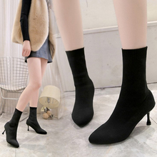 XZ066 2019 New Sexy Strench Knitting Boots Ladies Black Sock Boots Thin High Heels Women Shoes Female Pointed Toe Ankle Boots недорого