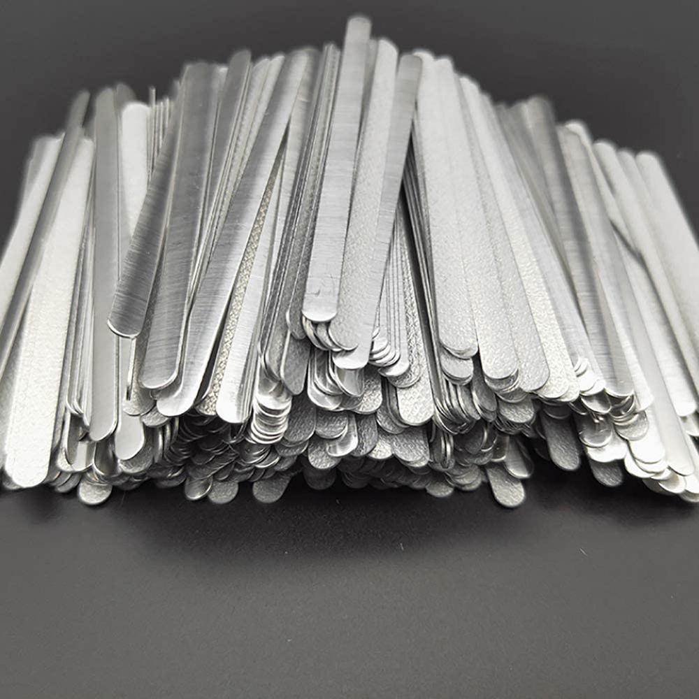 100pcs/bag Adhesive Metal Flat Aluminum Nose Strips Bridge Wire Clips Ties For DIY Mask Making 85x5x0.5mm In Stock