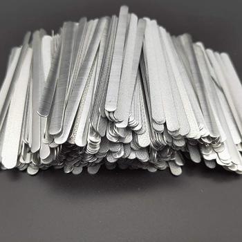 цена на 100pcs/bag Adhesive Metal Flat Aluminum Nose Strips Bridge Wire Clips Ties for DIY Mask Making 85x5x0.5mm in stock