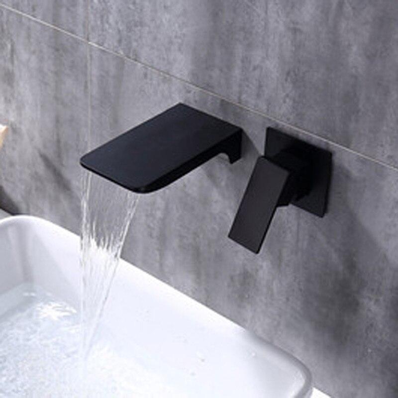 Robinet de cascade noir à entrée murale à froid robinet de drainage mural en cuivre