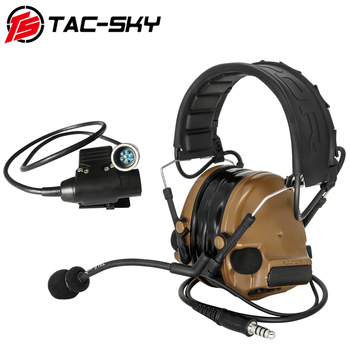 TAC-SKY tactical COMTAC hearing protection shooting noise reduction headphones and tactical PRC 148152 PTT 6-pin U94 PTT  CB tactical comtac ii anti noise sound amplification electronic noise reduction shooting headphones and tactical ptt u94 ptt de