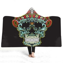 Hooded Blanket 3D Printed Skull For Adults Childs Sherpa Fleece Home Travel Wearable Microfiber Throw Mantle