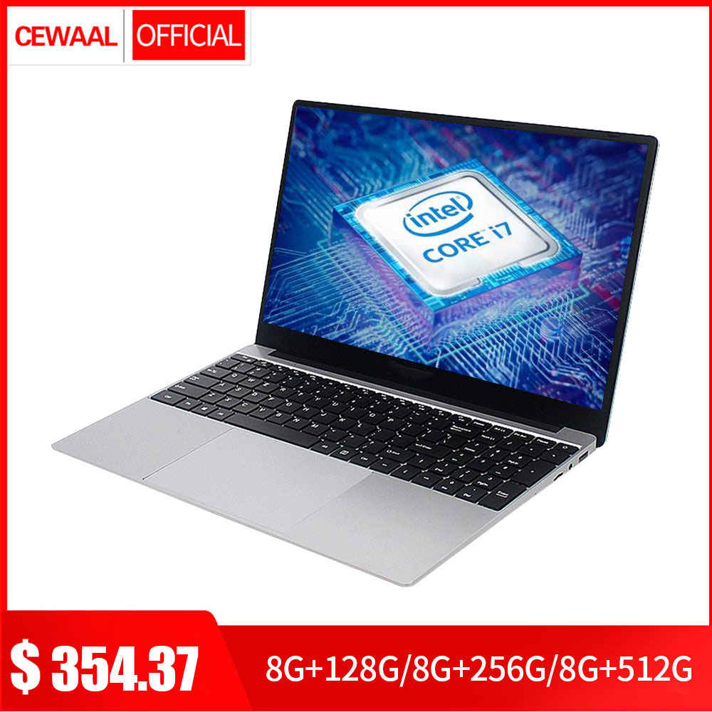 15.6 Inch Intel Core 7Gen I7 Laptop 8GB RAM 512GB SSD Windows 10 Metal Notebook 2.4G/5G WiFi Student Laptop Computer HDMI USB
