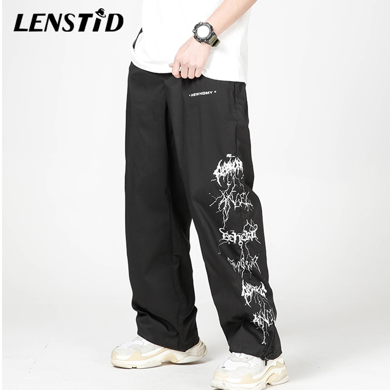 LENSTID Men Hip Hop Lightning Printed Baggy Joggers Pants Harajuku Streetwear Sweatpants Casual 2020 Summer Harem Track Trousers
