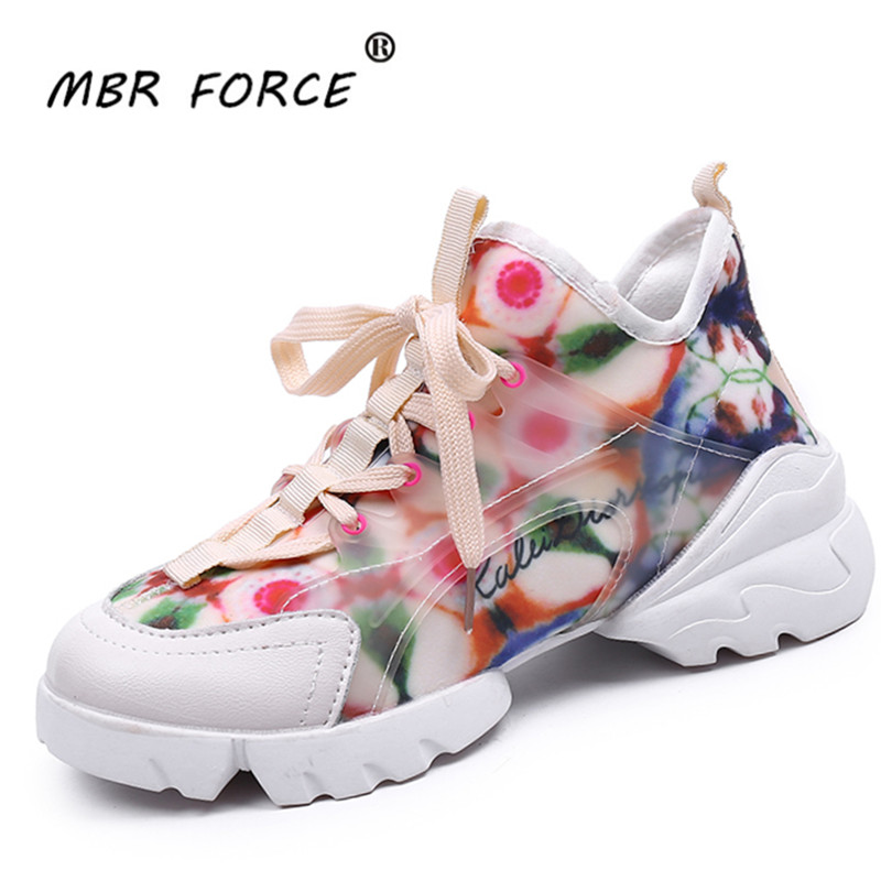 MBR FORCE New Fashion Flower Pattern Ladies Casual Shoes Mesh Breathable Ladies Sneakers White Ladies Sponge Shoes Sneakers