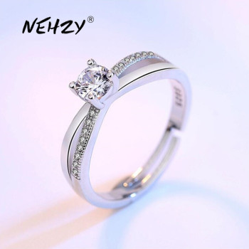 NEHZY 925 sterling silver new jewelry high quality fashion woman open ring retro size adjustable cubic zirconia silver ring