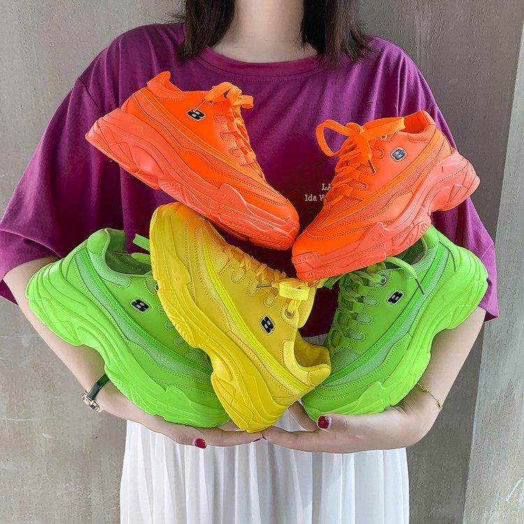 Image 2 - 2020 модные массивные кроссовки; Женская обувь на высоком каблуке; Кроссовки на платформе; Повседневные зеленые, белые, желтые кроссовки; chaussures femme G 48Кроссовки и кеды   -