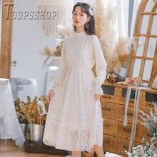 2019 forro con encaje de pelusa vestido de mujer largo estilo Fairy femenino Bottoming vestidos
