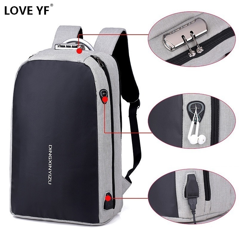 Anti-theft Password Lock School Bag Teenager Laptop Backpack Business Waterproof Nylon Backpack USB Charging Bags Travel Bagpack