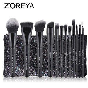Image 1 - ZOREYA Make Up Brush Set 2/8/12pcs Delicate Makeup Brushes Powder Foundation Contour and Eye Brushes 2019 New Model