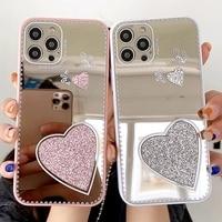 Funda de teléfono de lujo con espejo de corazón de amor para iPhone 12, 11 Pro Max, XR, XS Max, X, 7, 8 Plus, SE 2020, carcasa trasera con parachoques de mariposa