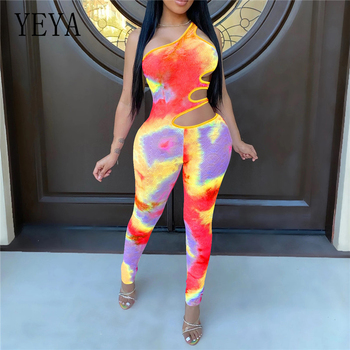 YEYA Women Tie Dye Galaxy Print One Shoulder Cut Out Waist Bodycon Jumpsuit Hollow Out Skinny Playsuit Sexy Club Party Romper purple sexy cut out backless playsuit with self tie design