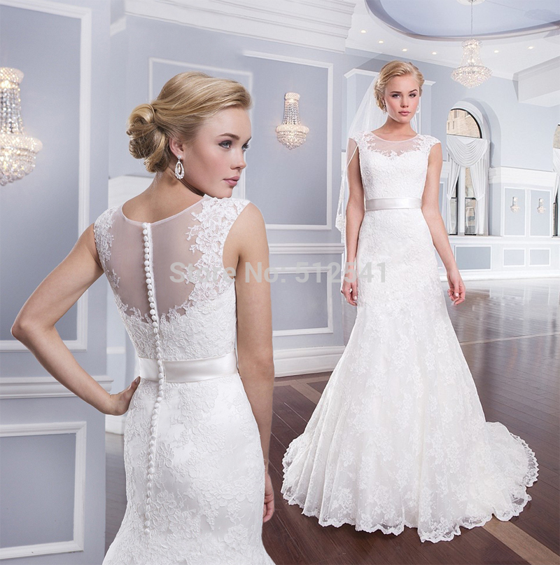 Sheer Buttons Wedding Dresses Lace Mermaid Trumpet Sweetheart Neck Applique Sweep Train Bridal Gowns 2019
