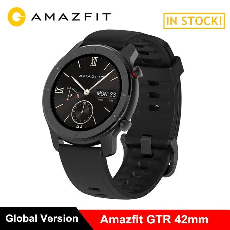 Huami AMAZÔNIA GTR 42mm 5ATM Smartwatch Relógio Inteligente Do Bluetooth Monitor de Freqüência Cardíaca À Prova D' Água 12 dias Bateria 12 Modos de Esportes