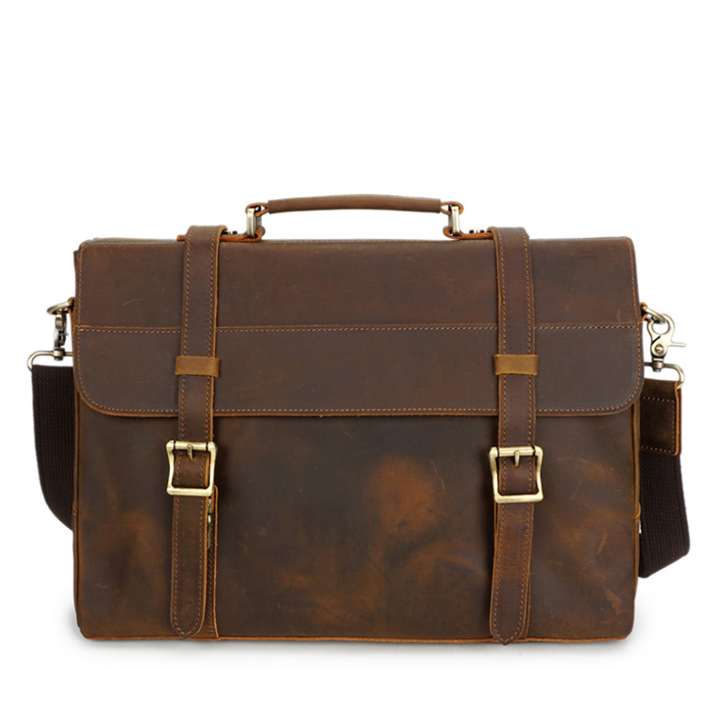 MAHEU Vintage Handmade Crazy Horse Leather Briefcase Messenger Shoulder Satchel Retro Style Briefcase Hand Business Bags A4 File
