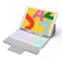 For iPad 10.2 2019 Ultra Thin 7 Color Backlight Bluetooth Russian/Hebrew/Spanish Keyboard Case Cover Build in Pencil Holder