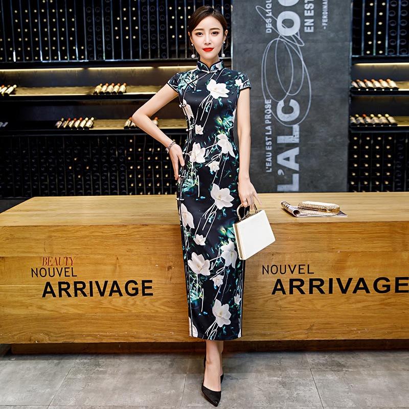 Sheng Coco Plus Size 3XL 4XL 5XL Vintage Cheongsam Long Dresses Black Bottom White Flower Qipao Chinese Style Robe Orientale