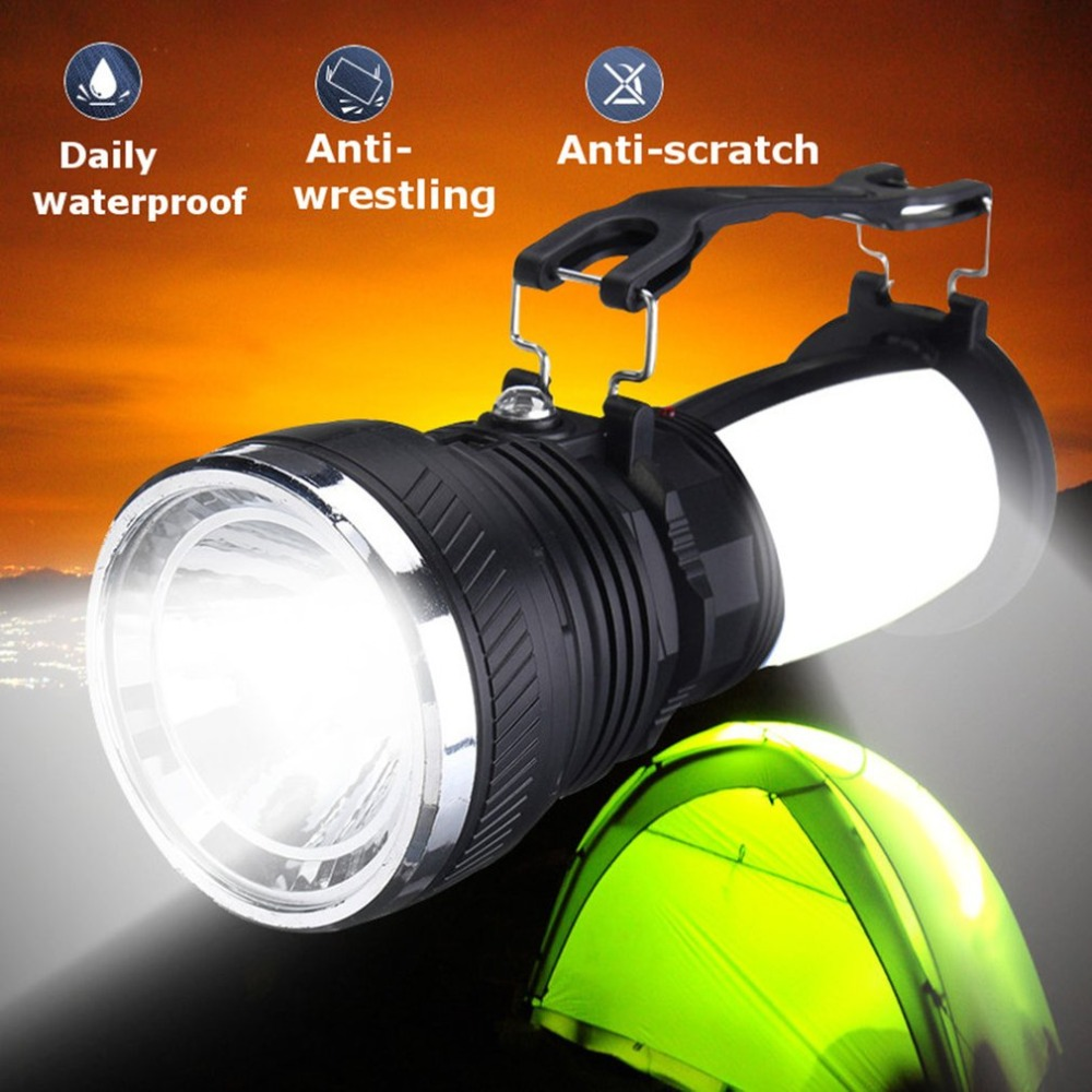 Solar Power USB Rechargeable LED Flashlight Super Bright Camping Tent Light Emergency Lantern Lamp For Hiking Travel