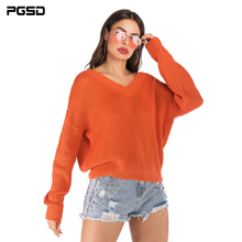 PGSD Autumn winter Orange Women knitted sweater Solid color loose casual Long sleeves pullover V-Neck Warm soft female clothes