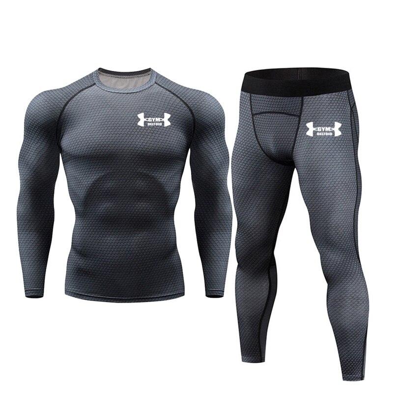 Mens Sport Joggers Set Compression T-Shirt + Pants Skin-Tight Long Sleeves Fitness Rashguard MMA Training Clothes Jogging Suits