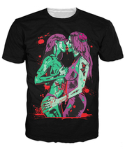 Zombie Kiss T-Shirt zombie lesbian party girls 3d Print t shirt Fashion Clothing Summer Style tees Hipster tops For  Men