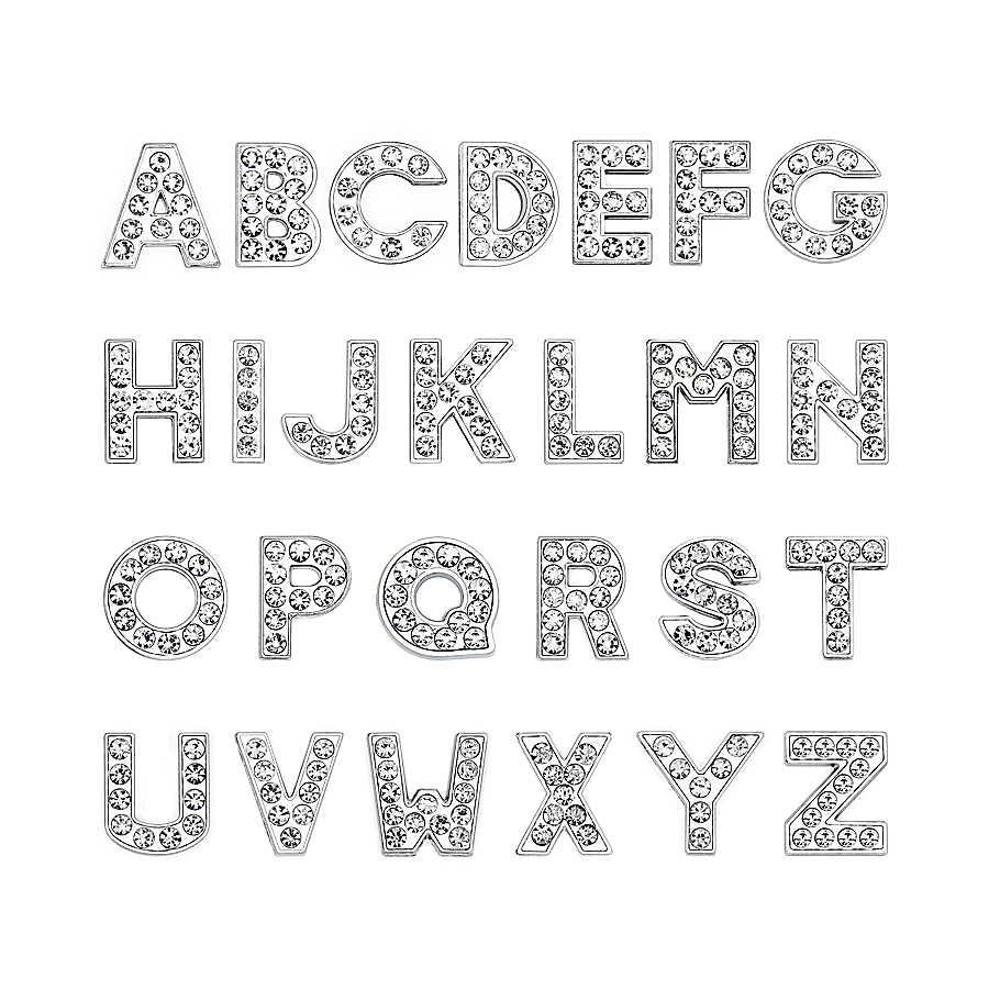 1 Pza A-Z 8mm claro completo Diamante de imitación letras deslizantes para bricolaje pulsera y Collar para mascotas fabricación de joyas