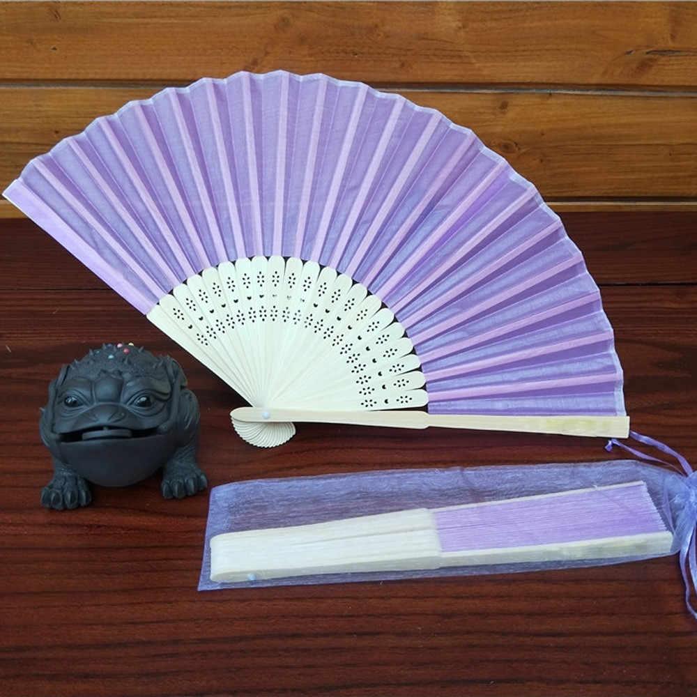 Gaya Cina Vintage Bambu Sutra Folding Hand Held Bunga Fan Cina Tari Pesta Saku Hadiah Pernikahan Warna-warni Dropshipping